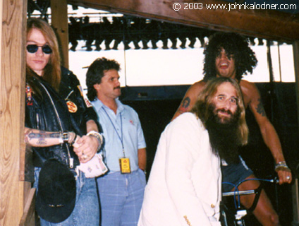 Axl Rose, Doug Goldstein, JDK & Slash (Guns N' Roses) backstage at an Aerosmith show - Kansas City, MO - July 1988
