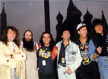 Jon Bon Jovi, JDK, Tico Torres, Alec John Such, David Bryan & Richie Sambora - in Moscow for the 'Moscow Peace Festival'- 1989