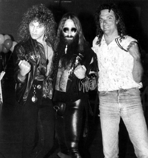 Dave Meniketti (Y & T), JDK and Scott Borey (Y & T) on the set of Y &  T's 'Contagious' Video Shoot  - Los Angeles, CA - June 1st, 1987