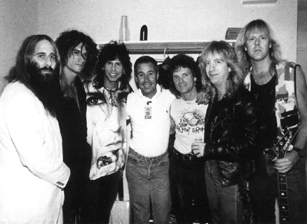 JDK, Joe Perry, Steven Tyler, David Geffen, Joey Kramer, Brad Whitford & Tom Hamilton - December 19, 1988