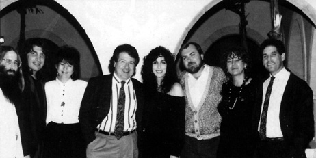 JDK, Peter Napoliello (Geffen National Top 40 Promo), Diane Warren (songwriter), Gary Walden (KISN Salt Lake City), Cher, Steve Rivers (KIIS-FM - L.A.), Gwen Richards (KIIS-FM - L.A.) & Arthur Promoff (Geffen Local Promo) - Los Angeles, CA - October 24th, 1988