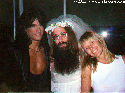 Joe Perry, JDK wearing his lovely wedding gown & Billie Perry on the set of Aerosmith's 'Dude Looks Like A Lady' - September 1987