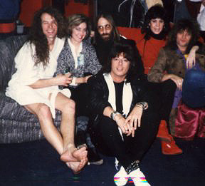 Ted Nugent, Cyndy Drue, JDK, Erin Riley, Jon Bon Jovi & Joe Lynn Turner (Rainbow) backstage - @ The Spectrum - Philadelphia, PA - 1986