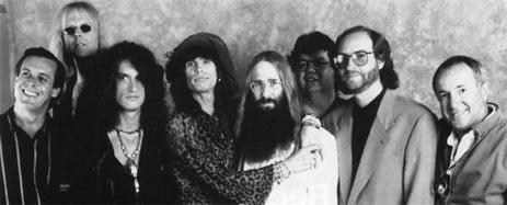 John Canelli (MTV), Aerosmith's Tom Hamilton, Joe Perry, Steven Tyler, JDK, Tim Collins (former Manager), Abraham Konowitch & Al Coury (GM for Geffen Records) - Los Angeles, CA - December 24th, 1990