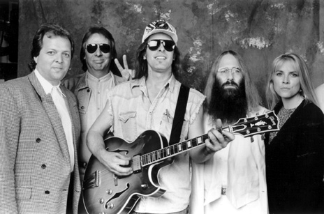 Dave Weiderman (Hollywood's RockWalk Industry Advisory Committee), Jim Ladd (KLSX Radio on air personality), Ted Nugent, JDK & Teri McIntyre (Executive Director for the Los Angeles Chapter NARAS) - 1995