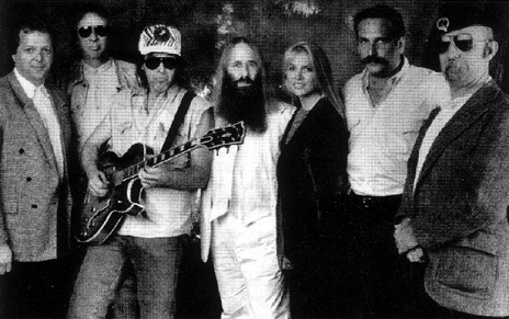 Dave Weiderman (Hollywood's RockWalk Industry Advisory Committee), Jim Ladd (KLSX Radio on air personality), Ted Nugent, JDK, Teri McIntyre (Executive Director for the Los Angeles Chapter NARAS), Ray Scherr (Advisory Committee) & Jeff Baxter - 1995