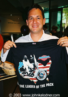 Andrew Ross (Sony Attorney) with a JDK T-shirt designed by Jesse Dupree (from Jackyl) @ the JDK Is Toast Party - Santa Monica, CA -  September 2003