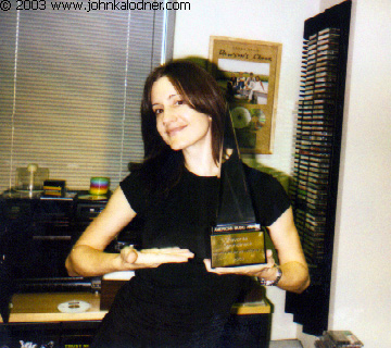 Denise Luiso (Director of Sony Music Soundtracks) holding her AMA award for the Spiderman Soundtrack - Santa Monica, CA - January 29, 2003