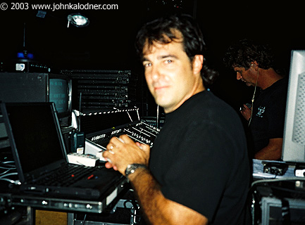 John Bionelli (Assistant Tour Manager for Aerosmith) & Mike Spagrue (Monitor Engineer for Aerosmith) in the background, backstage at Aerosmith - Philadelphia, PA - August 29th, 2003