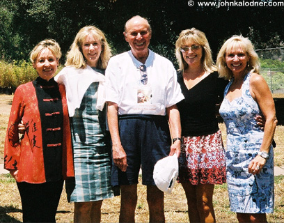 Judy Bird (Executive Director), Wendy Stagge (former Fitness Staff), Bob Topol (100 Visit Guest), Trish Martin (Director of Fitness), & Denise Lydon (former Fitness Staff)  @ The Golden Door - June 2004