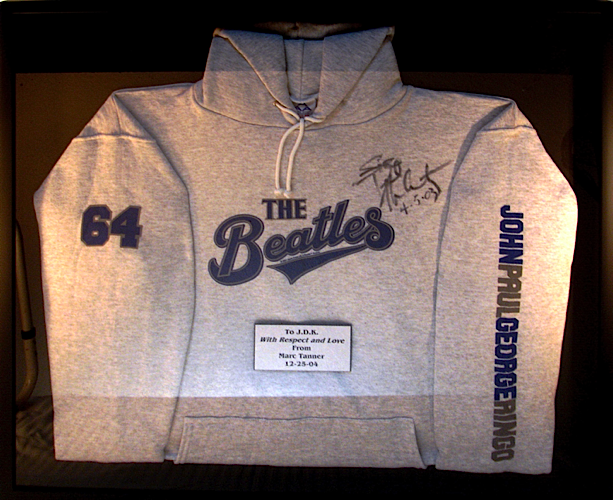 Beatles sweatshirt signed by Marc Tanner